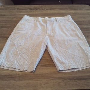 J Crew Blue and White Searsucker Shorts Size 31